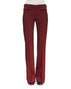 B38V8 Chloe Mid-Rise Boot-Cut Pants, Burgundy