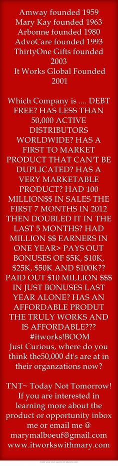Amway founded 1959 Mary Kay founded 1963 Arbonne founded 1980 AdvoCare founded 1993 ThirtyOne Gifts founded 2003 It Works Global Founded 2001  Which Company is .... DEBT FREE? HAS LESS THAN 50,000 ACTIVE DISTRIBUTORS WORLDWIDE? HAS A FIRST TO MARKET PRODUCT THAT CAN'T BE DUPLICATED? HAS A VERY MARKETABLE PRODUCT? HAD 100 MILLION$$ IN SALES THE FIRST 7 MONTHS IN 2012 THEN DOUBLED IT IN THE LAST 5 MONTHS? HAD MILLION $$ EARNERS IN ONE YEAR> PAYS OUT BONUSES OF $5K,...