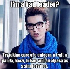 Kris exo-m haha love you oppa! I can help you to take care off al your alpacas, panda, unicorn and luhan!!
