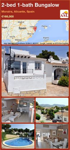 Bungalow for Sale in Moraira, Alicante, Spain with 2 bedrooms, 1 bathroom - A Spanish Life Small Courtyard Gardens, Small Courtyards, Murcia, Local Builders, Modern Sliding Doors, Enclosed Patio, Bungalows For Sale, Alicante Spain, Double Bedroom