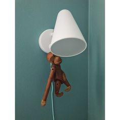 Kay Bojesen monkey, Ikea Fubbla lamp.