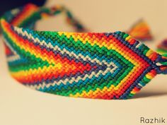 Embroidery Bracelets Design Rainbow Friendship Bracelet by Razhik - Embroidery Floss Bracelets, Yarn Bracelets, Bracelet Crafts, Embroidery Shop, Embroidery Ideas, Chevron Friendship Bracelets, Bracelets With Meaning, Embroidery Techniques, Craft Patterns