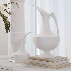 Elegant Grecian ewer-matte White