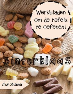 Thema Sinterklaas: werkbladen om de tafels te oefenen. Dutch Recipes, Creative Kids, Pre School, Crafts For Kids, December, Teaching, Food, Education, Jessie