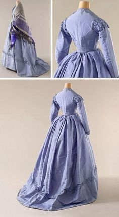 Dress, 1865. Purple silk taffeta. Boned bodice closes in front with 7 buttons covered with purple satin. Long sleeves, pleated and gathered front and back. Ruffles at shoulders, wrists and skirt hem.Musée Galliera, Musée de la Mode de la Ville de Paris