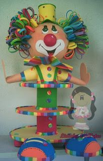 Aline Arts e Decorações: Baleiro Palhaço Grande Circus Birthday, Birthday Parties, Happy Birthday, Clown Party, Circus Party, Diy And Crafts, Crafts For Kids, Vintage Carnival, Event Decor