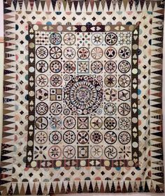 Jane Pizar Marriage Quilt reproduced and made by Carolyn Konig. Block of the Month pattern available Circle Quilts, Quilt Blocks, Antique Quilts, Vintage Quilts, Sampler Quilts, Appliqué Quilts, Medallion Quilt, Quilt Border, Traditional Quilts