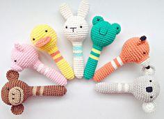 Bunny Rattle, Rabbit Rattle, Baby Rattle, Rattle, Soft Baby Rattle from MarigurumiShop on Etsy. Crochet Baby Toys, Crochet Animals, Crochet Dolls, Crochet Teddy, Love Crochet, Crochet For Kids, Diy Crochet, Handmade Baby, Handmade Toys