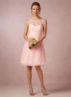 Bridesmaid Dresses - $85.00 - A-Line/Princess Scoop Neck Knee-Length Tulle Bridesmaid Dress With Ruffle Appliques Lace (0075059685)