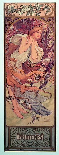 The Seasons: Spring (1897) Alphonse Mucha #mucha