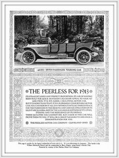 1913 The Peerless Motor Car 48 SIX Seven Passenger Touring Car, ( A high quality presentation. BORDER by William Ballantyne Brown)