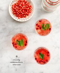 Minty pomegranate spritzer