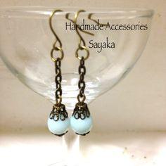 新品即決天然石アマゾナイト金古美ピアスハンドメイド手作り Handmade earrings ¥200円 〆03月20日