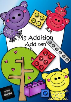 Learning to add ten is a vital math skill.  This resources will help your children not only to add 10 to numbers between 1-9 but also learn to to quickly add 10 together. Building blocks of various shapes and sizes are used to show that you get the number ten by adding for example 6+4.   There are pages where the children can draw their own pigs and create their own maths problems.   The pages are colour as well as black-and-white so the children can colour-in the building blocks themselves.