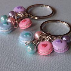 Best Friends Macaron Keychains - Pastel Macaron Key Chains - BFF Keychain Set - Polymer Clay Macarons