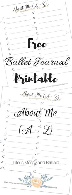 bullet journal about me page, bullet journal self-care, bullet journal printables, bullet journal trackers, bullet journal tracker ideas Free Bullet Journal Printables, Bullet Journal How To Start A, Bullet Journal Layout, Bullet Journal Inspiration, Printable Planner, Planner Stickers, Bullet Journals, Free Printables, Journal Pages