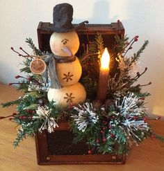 Asian Locking Chest with Vintage Snowman  and battery operated, wax dipped flicker candle