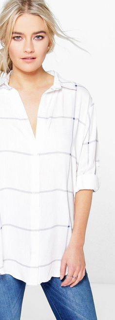 Molly Large Grid Oversized Shirt - Tops  - Street Style, Fashion Looks And Outfit Ideas For Spring And Summer 2017