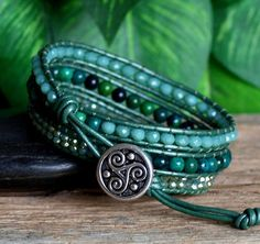 Beaded Leather Triple Wrap, Chrysocolla Green Crystal Bracelet, Green Turquoise…