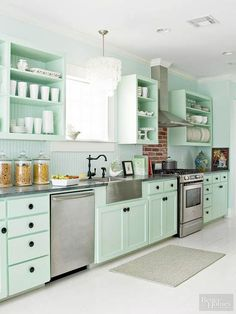 Add a personal element to your kitchen by painting cabinetry.