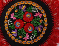 Antique MATYO SILK EMBROIDERED TABLECLOTH Hungarian-round colorful Art Nouveau