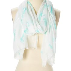 JC Sunny White & Aqua Mermaid Scarf ($12) ❤ liked on Polyvore featuring accessories, scarves, white cotton scarves, beach shawl, white cotton shawl, white shawl and cotton shawl