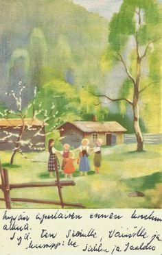 Kirjeitä myllyltäni: Martta Wendelin Vintage Cards, Vintage Postcards, Girl Face Drawing, Scandinavian Art, Old Art, Children's Book Illustration, Martini, Finland, Watercolor Art
