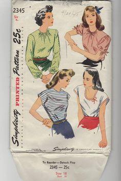 Vintage 40's Woman's Blouse sewing pattern. by nancynaz on Etsy, $19.95