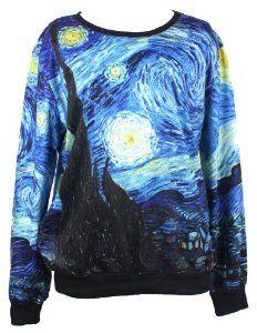 Starry Night Injoy Neon Galaxy Cosmic Colorful Patterns Print Sweatshirt Sweaters
