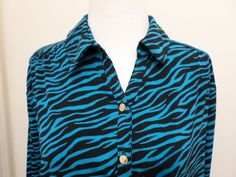 Dana Buchman Optic Accents Top Blouse Size XL Long Sleeve Teal Jewel NWT #DanaBuchman #Blousewith4Buttons #Career