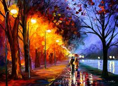0209  Alley By The Lake - Palette Knife Landscape Oil Painting On Canvas By Leonid Afremov Print by Leonid Afremov
