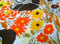 Vintage Fabric  Mod Flowers  Yellow Orange & Brown  by NehiandZotz, $10.00