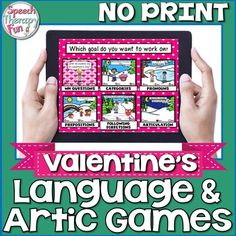 Valentine's Day Language & Articulation activities that you don't have to print, cut or laminate! This NO PRINT product is Valentine's Day themed, which means all pages, pictures and questions have to do with Valentine's Day! Have your students answer the questions before they get to push the 'Next' button!This product includes:31 Preposition pages - In Front Of, Behind, Next To, Beside, Around, In, Out, Near, Far, Up High, Down Low, On, Off, Between, Over, Under50 WH Question Pages - 10 ...
