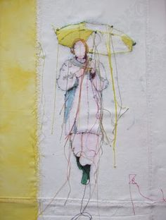 Textile art / thread painting, woman with umbrella in yellow
