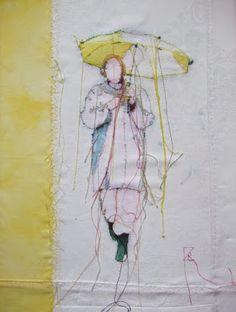 Textil Kunst: Schirm in Gelb