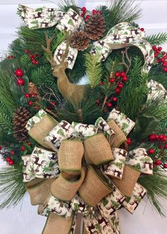 Christmas or Winter Berry Traditional Country Deer Pine Wreath