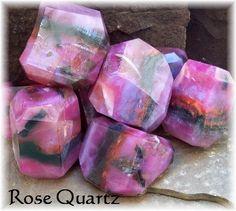 Prices Rose Quartz Rocks | Rose Quartz Gemstone Soap Rocks Pink, Rose, Copper and Brown ...