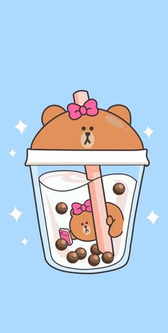 Tea Wallpaper, Cute Anime Wallpaper, Cute Wallpaper Backgrounds, Wallpaper Iphone Cute, Aesthetic Iphone Wallpaper, Disney Wallpaper, Cute Food Drawings, Cute Kawaii Drawings, Kawaii Doodles