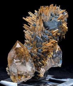 Hematite & Rutile on Rutilated Quartz / Novo Horizonte, Brazil / Minerals, Crystals & Fossils Minerals And Gemstones, Rocks And Minerals, Mineral Stone, Rutilated Quartz, Rocks And Gems, Stones And Crystals, Earth, Summer Street, Opaline
