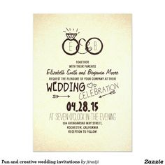 "Fun and creative wedding invitations 5"" x 7"" invitation card"
