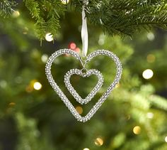 Pottery Barn Double Hanging Heart Ornament St Jude Holiday New with Tag White Christmas Ornaments, Ball Ornaments, Christmas Tree Decorations, Christmas Ideas, Christmas Mantels, Christmas 2019, Holiday Ideas, Christmas Crafts, Merry Christmas