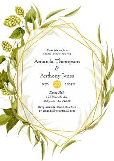 """Beer Willow Greenery Gold Geometric Couples Shower Invitation. Size: 5"""" x 7"""" Make custom invitations and announcements for every special occasion! Choose from twelve unique paper types, two printing options and six shape options to design a card that's perfect for you. Size: 5"""" x 7"""" (portrait) or 7"""" x 5"""" (landscape) Standard white envelope included Add photos and text to both sides of this flat card at no extra charge Use the """"Customize it!"""" CLICK IMAGE FOR MORE DETAILS. Couples Wedding Shower Invitations, Custom Invitations, Colored Envelopes, White Envelopes, I Do Bbq, Couple Shower, Envelope Liners, Paper Texture, Tea Party"""