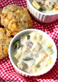Chicken Pot Pie Soup with Red Lobster Biscuits - YUM!