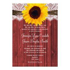 Rustic Sunflower Red Barn Wood Wedding Invitations