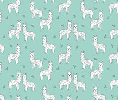 Alpaca - Mint/White by Andrea Lauren Llamas with Triangles fabric by andrea_lauren on Spoonflower - custom fabric