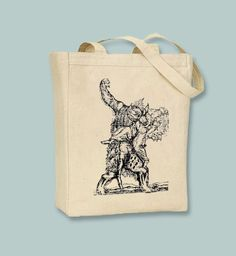 Vintage Ancient Werewolf Engraving Canvas Tote  - Selection of sizes available, image in ANY COLOR by Whimsybags on Etsy