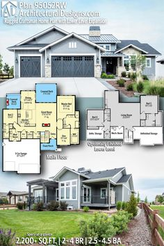 Architectural Designs Rugged Craftsman House Plan 95052RW | 2 - 4 beds | 2.5 - 4.5 baths | 2,200 Sq.Ft.+ | PLUS 1,563 Sq. Ft. optionally finished lower level Ready when you are! Where do YOU want to build? #95052RW #adhouseplans #architecturaldesigns #houseplan #architecture #newhome #newconstruction #newhouse #homedesign #dreamhouse #homeplan #architecture #architect #houses #homedecor #kitchen #greatroom #kitchendesign #coloradohome #southernhome #southerliving #Modernfarmhouse #house…