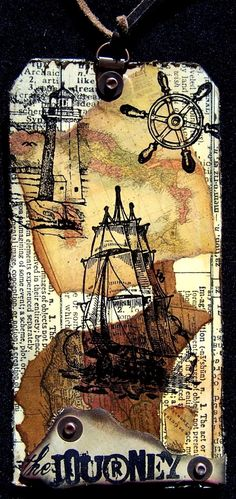 Using Tim Holtz tissue tape, findings and distress inks. Donna Salazar crafty chronicle.
