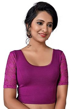 Maroon Stretchable Lycra Front Side Pearl Work Ready To Wear Saree Blouse With Short Sleeves Choli Top Tunic For Wear Sari Blouse