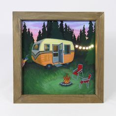 Excited to share the latest addition to my shop: Lightbox Forest Bathing, Forest Print, framed art, Happy Camper Framed Art, Framed Prints, Art Prints, Lds Art, Forest Bathing, Vintage Travel Trailers, Happy Campers, Custom Art, Art Techniques